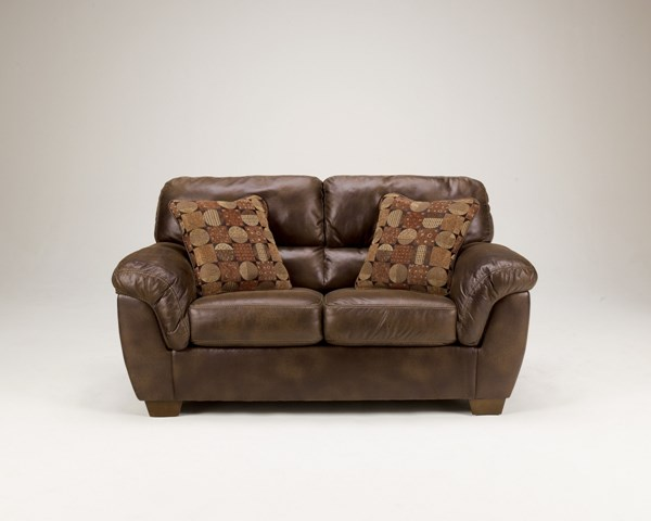 Frontier Casual Canyon Faux Leather Wood Loveseat 3090035