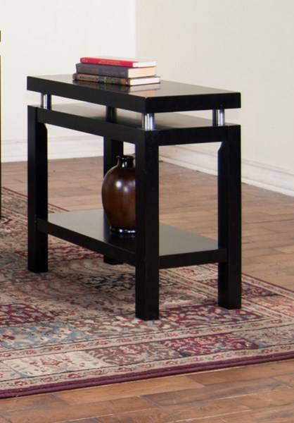 New York Black Wood Rectangle Chair Side Table 3224B-CS