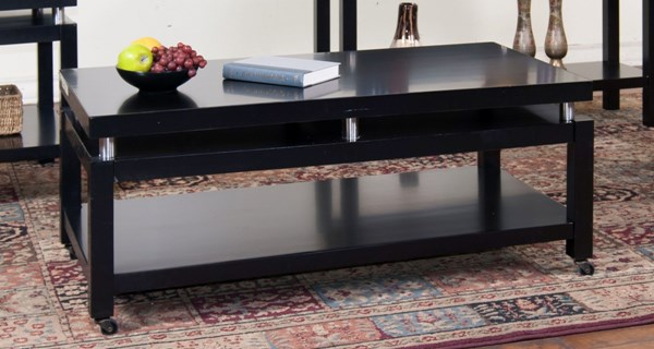 New York Black Wood Rectangle Coffee Table 3224B-C