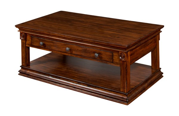 Savannah Antique Charcoal Wood Rectangle Storage Coffee Table 3243AC-C