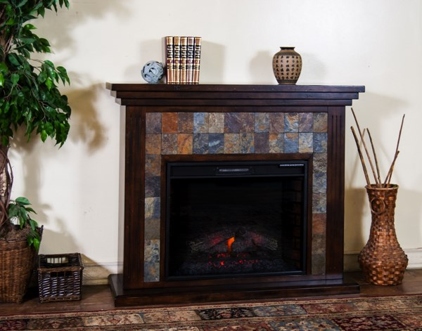 Wood Metal Fireplace Media Console 3486DC-RO-VAR 3486DC-RO-VAR