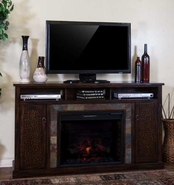 Santa Fe Dark Chocolate Wood Metal Fireplace TV Console W/Firebox 3489DC-66R-S