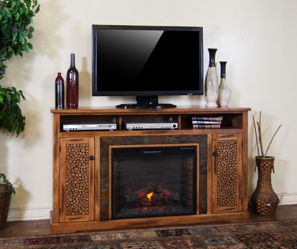 Sedona Rustic Oak Wood Shelves Heater Insert Fireplace TV Console K3489RO-66F
