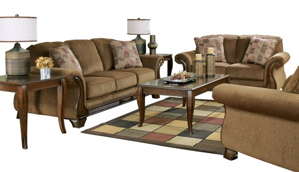 Montgomery Traditional Mocha Fabric Living Room Set 38300