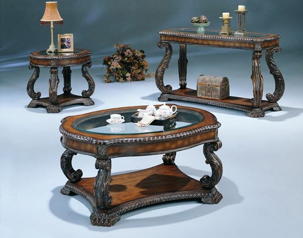 Traditional Antique Brown Wood Glass 3pc Coffee Table Set CST-G3892-S