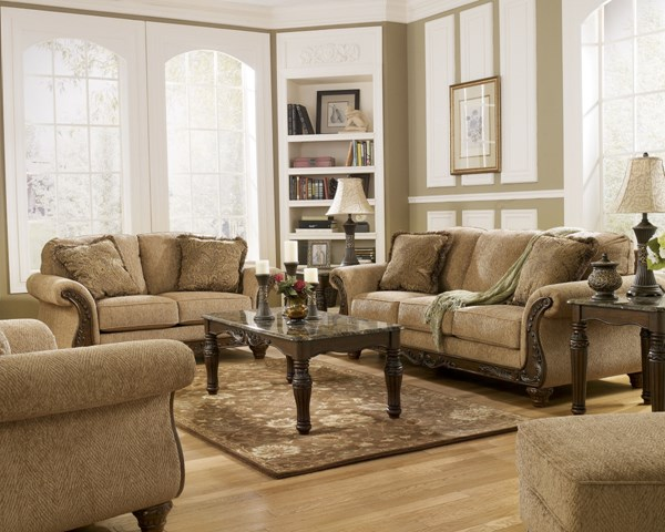 appealing traditional fabric sofas living room furniture | Cambridge Traditional Amber Fabric Wood 3pc Living Room ...