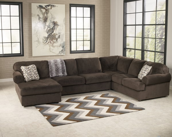 Jessa Place Contemporary Chocolate Cushion Back Sectional 39804