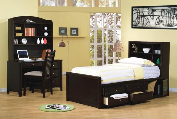 Phoenix Transitional Cappuccino 2pc Bedroom Set W/Full Storage Bed CST-400180F-BRS-S2