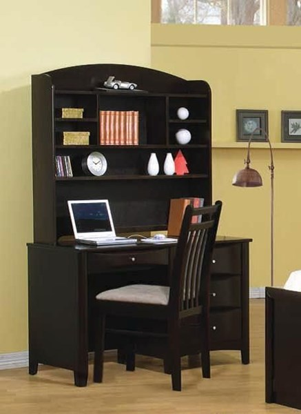 Classy Computer Tables To Go With Living Room Decor: Coaster Furniture Phoenix Cappuccino Desk With Hutch