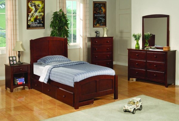 Parker Cappuccino 2pc Kids Bedroom Set W/Twin Storage Bed CST-400291TS-SET