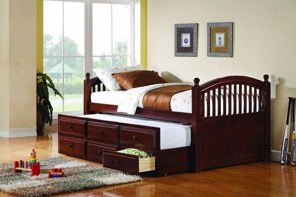 Traditional Cherry Wood Twin Daybed W/Trundle CST-400381T