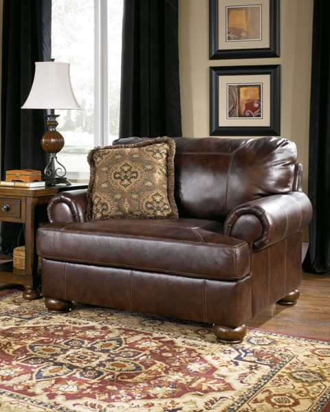 Axiom Traditional Walnut Leather Wood Chair And A Half 4200023