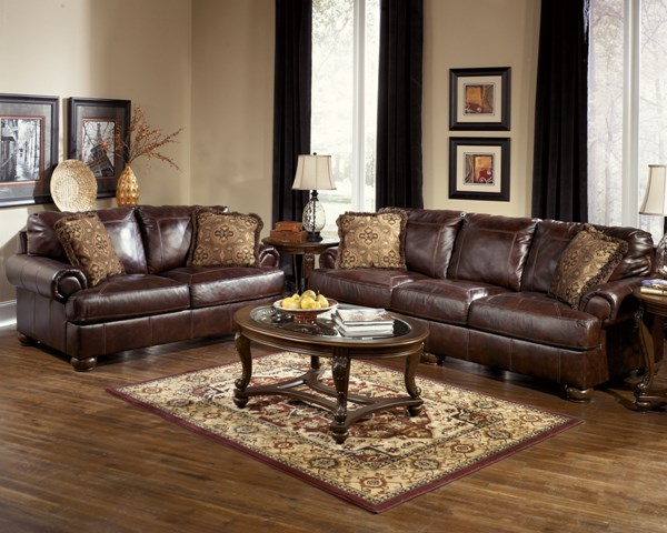 Axiom Traditional Walnut Leather Wood 3pc Living Room Set 42000-S