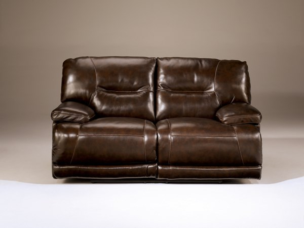 Exhilaration Contemporary Chocolate Leather Reclining Loveseat 4240186