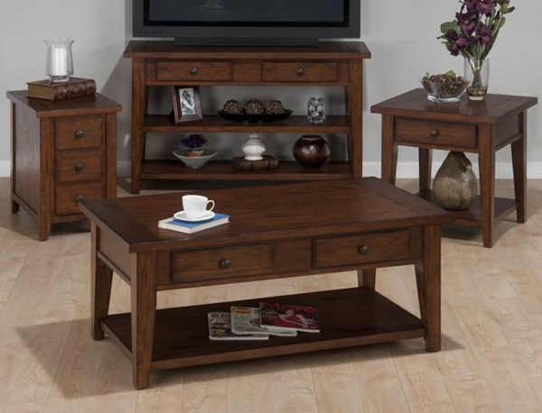 Clay County Casual Oak Wood 3pc Coffee Table Set JFN-443-set1