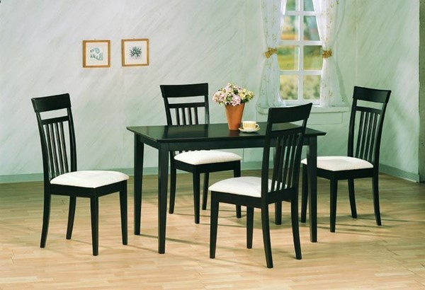 Casual Cappuccino White Wood Fabric 5pc Dining Room Set CST-4430