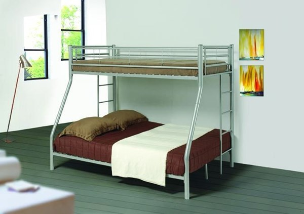 Glossy Silver Metal Twin/full Bunk Bed CST-460062