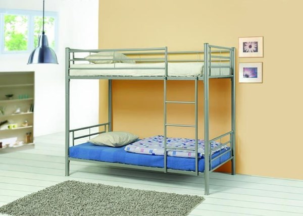 Contemporary Silver Metal Twin/Twin Bunk Bed CST-460072