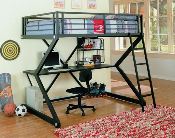Contemporary Black Matted Metal Full Workstation Loft Bed CST-460092