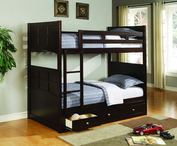Jasper Cappuccino Twin/Twin Bunk Bed W/o Under Bed Storage CST-460136