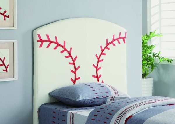 Youth White Fabric Baseball Upholstered Headboard CST-460167