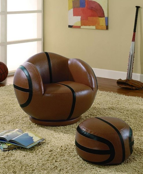 Brown Black Leatherette Small Kids Basketball Chair & Ottoman CST-460176