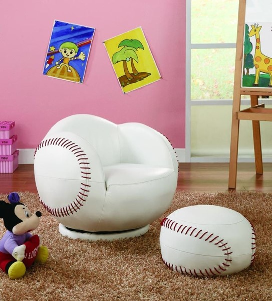 White Red Leatherette Small Kids Baseball Chair & Ottoman CST-460177