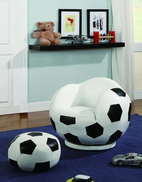 White Black Leatherette Small Kids Soccer ball Chair & Ottoman CST-460178