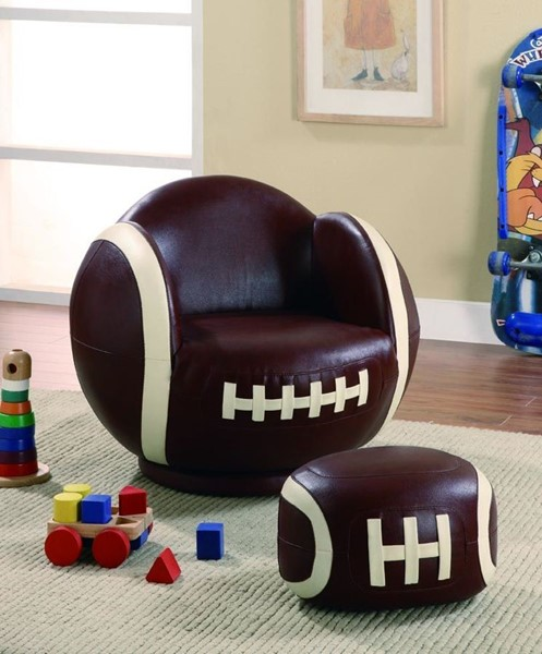 Brown White Leatherette Small Kids Football Chair & Ottoman CST-460179