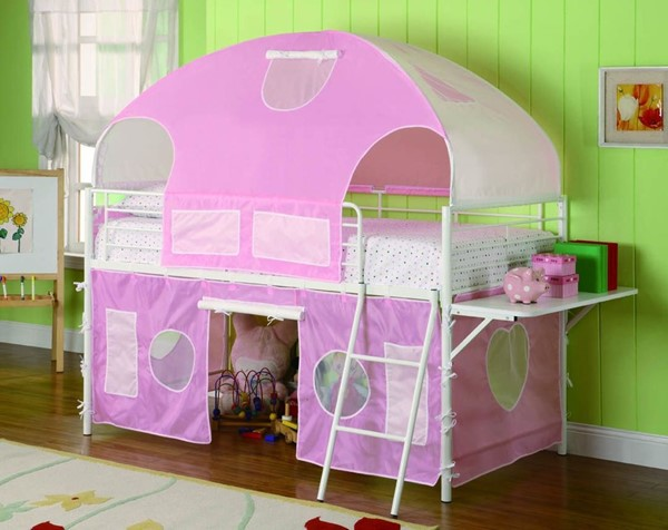Casual White Metal Girl Tent Bunk Bed W/Desk CST-460202