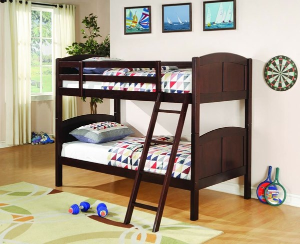 Parker Transitional Cappuccino Wood Twin Bunk Bed CST-460213