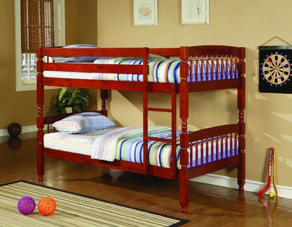 Warm Wood Twin/Twin Bunk Bed W/Ladder CST-460221-23