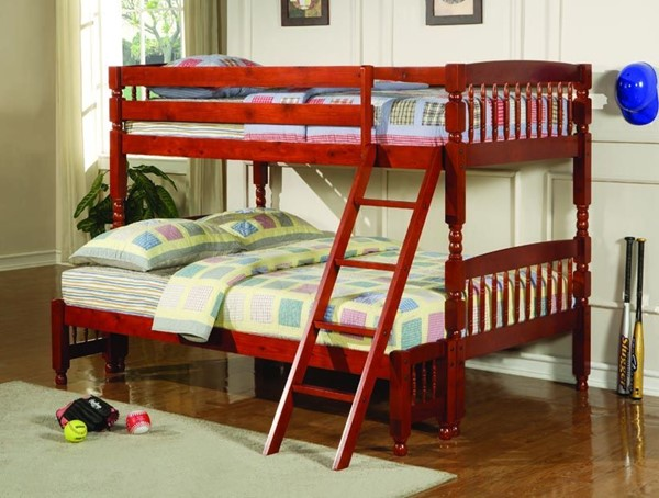 Red Amber Wood Attached Ladder Twin/Full Bunk Bed CST-460222