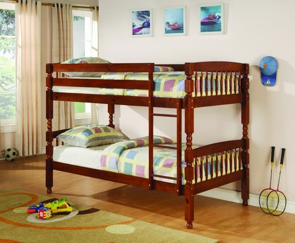 Medium Brown Wood Ladder Twin/Twin Bunk Bed CST-460223
