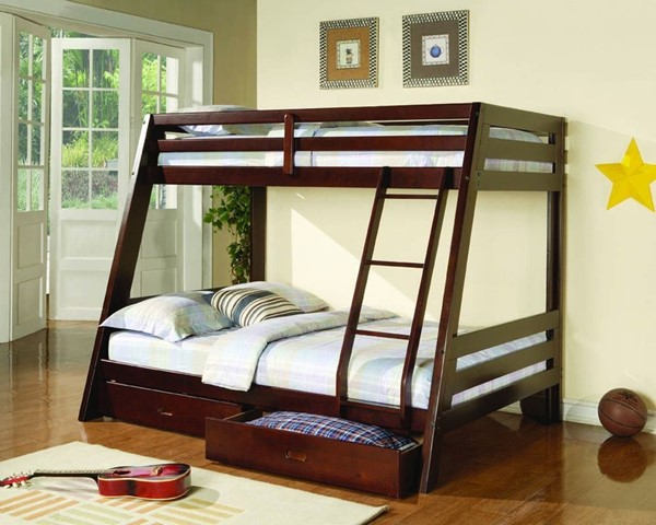 Transitional Cappuccino Twin/Full Bunk Bed CST-460228