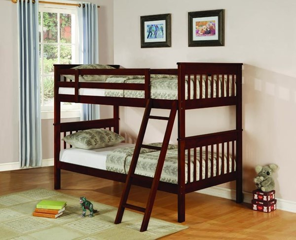 Parker Transitional Cappuccino Wood Twin/Twin Bunk Bed CST-460231