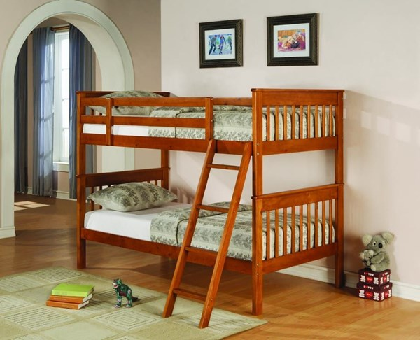 Honey Wood Ladder Twin/Twin Bunk Bed CST-460233