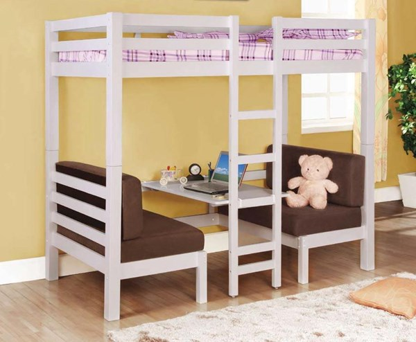 Clean White Twin/Twin Convertabe Loft Bed CST-460273