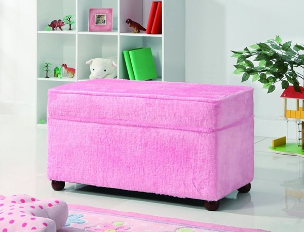 Pink Fabric Armless & Backless Storage Bench CST-460451