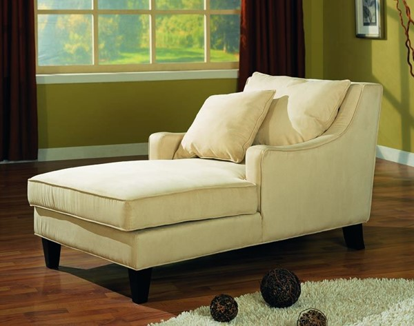 Beige Fabric Wood Curve Arm Chaise W/Cushion Back CST-500029