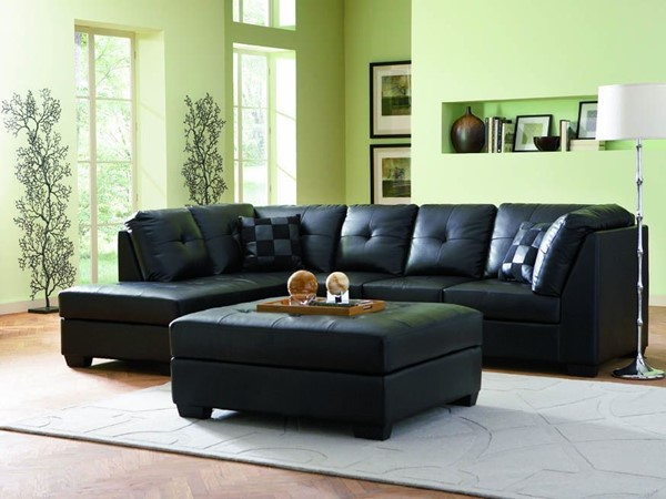 Coaster Furniture Darie Black Bonded Leather Sectional CST-500606