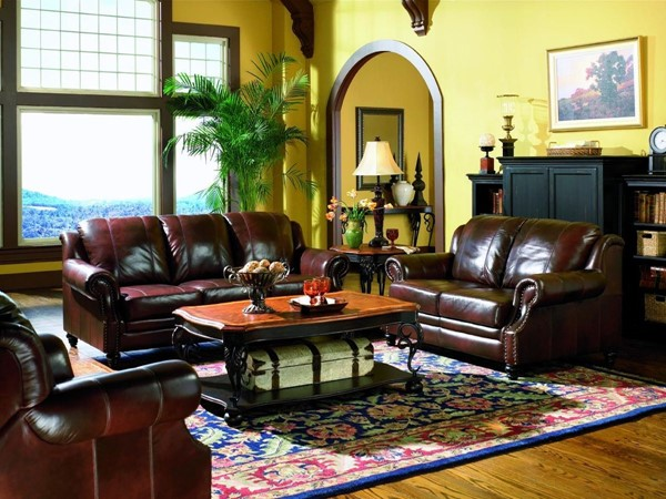 Princeton Brown Leather Wood Living Room Set CST-50066