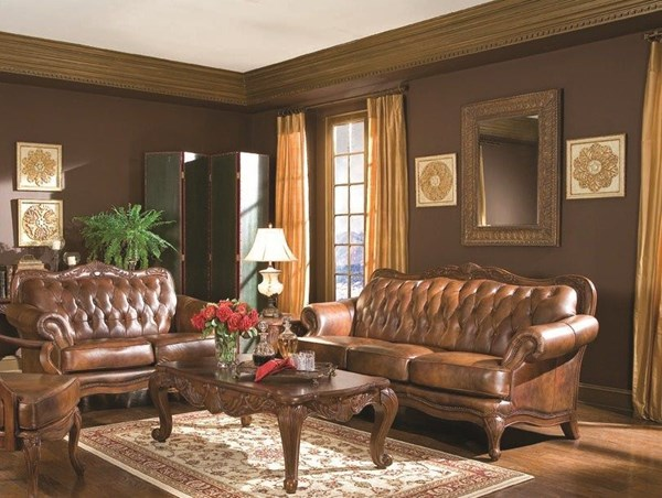 Victoria Classic Brown Wood Leather Living Room Set CST-50068