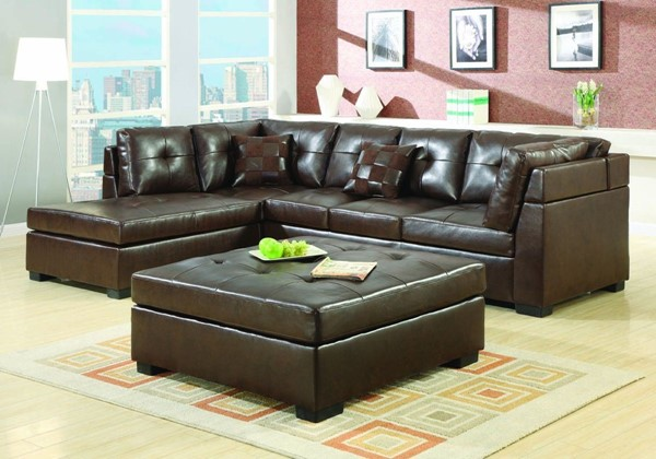 Darie Contemporary Brown Bonded Leather Sectional CST-500686