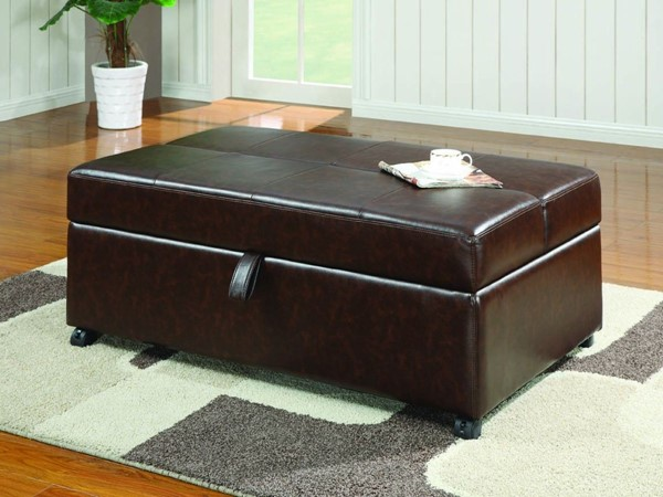 Dark Brown Wood PU Storage Bench W/Sleeper CST-500750