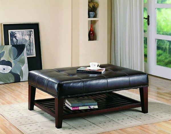 Brown Wood Leatherette Ottoman CST-500872
