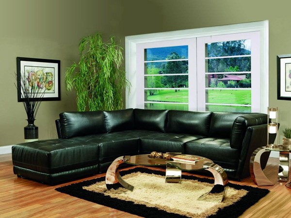 Kayson Contemporary Black Bonded Leather Sectional CST-50089-S