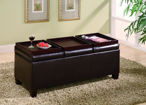 Dark Brown Wood Leatherette Try Top Storage Ottoman CST-501036