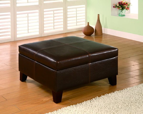 Dark Brown Wood Leatherette Storage Ottoman CST-501042