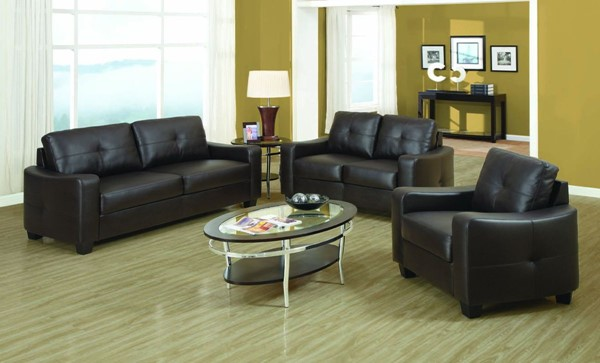 Jasmine Black Wood Leather 3pc Living Room Set CST-50273-SET